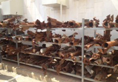 Exploded rockets in the Sderot Media Center