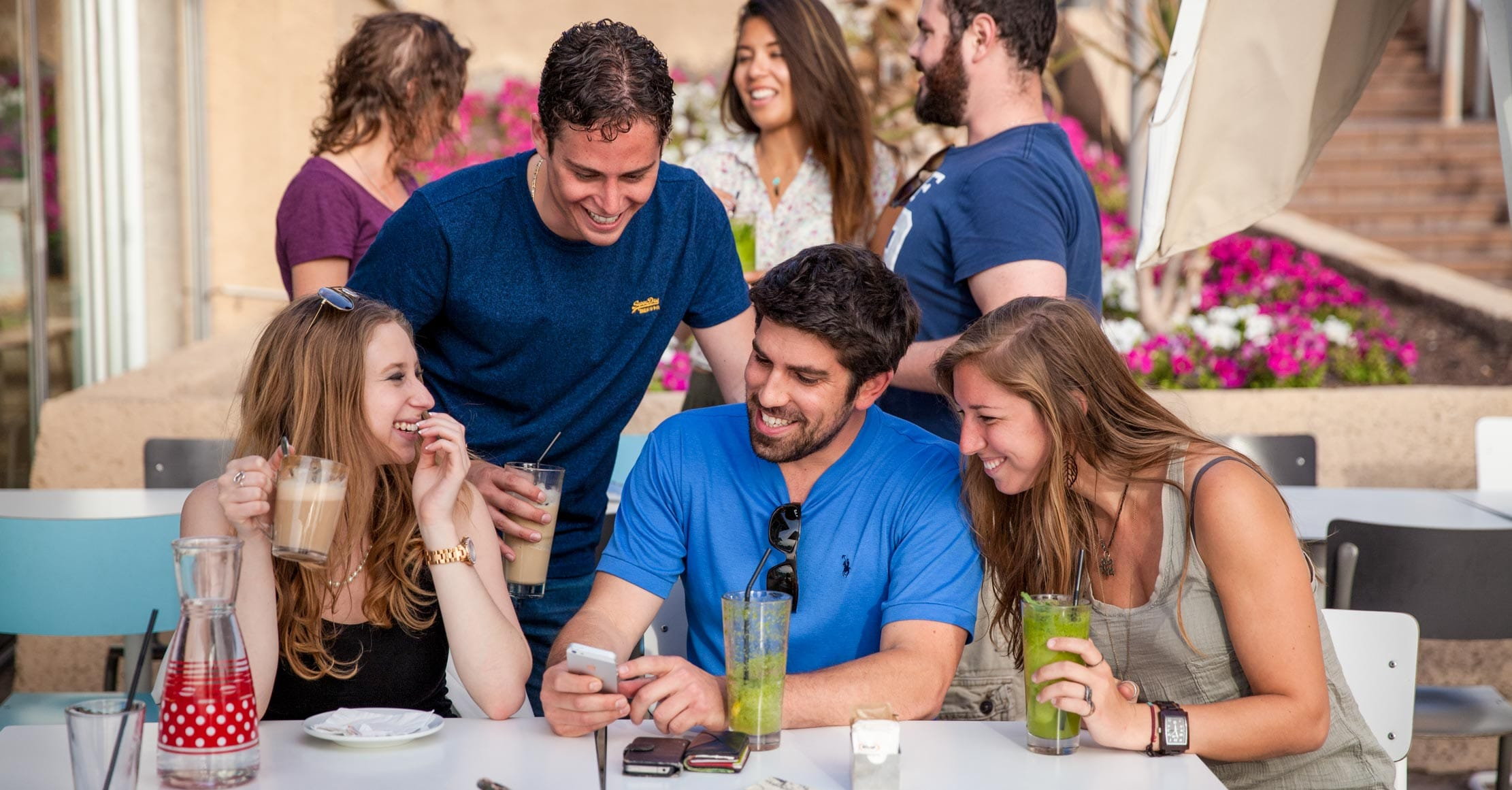 Young adults at cafe in Israel