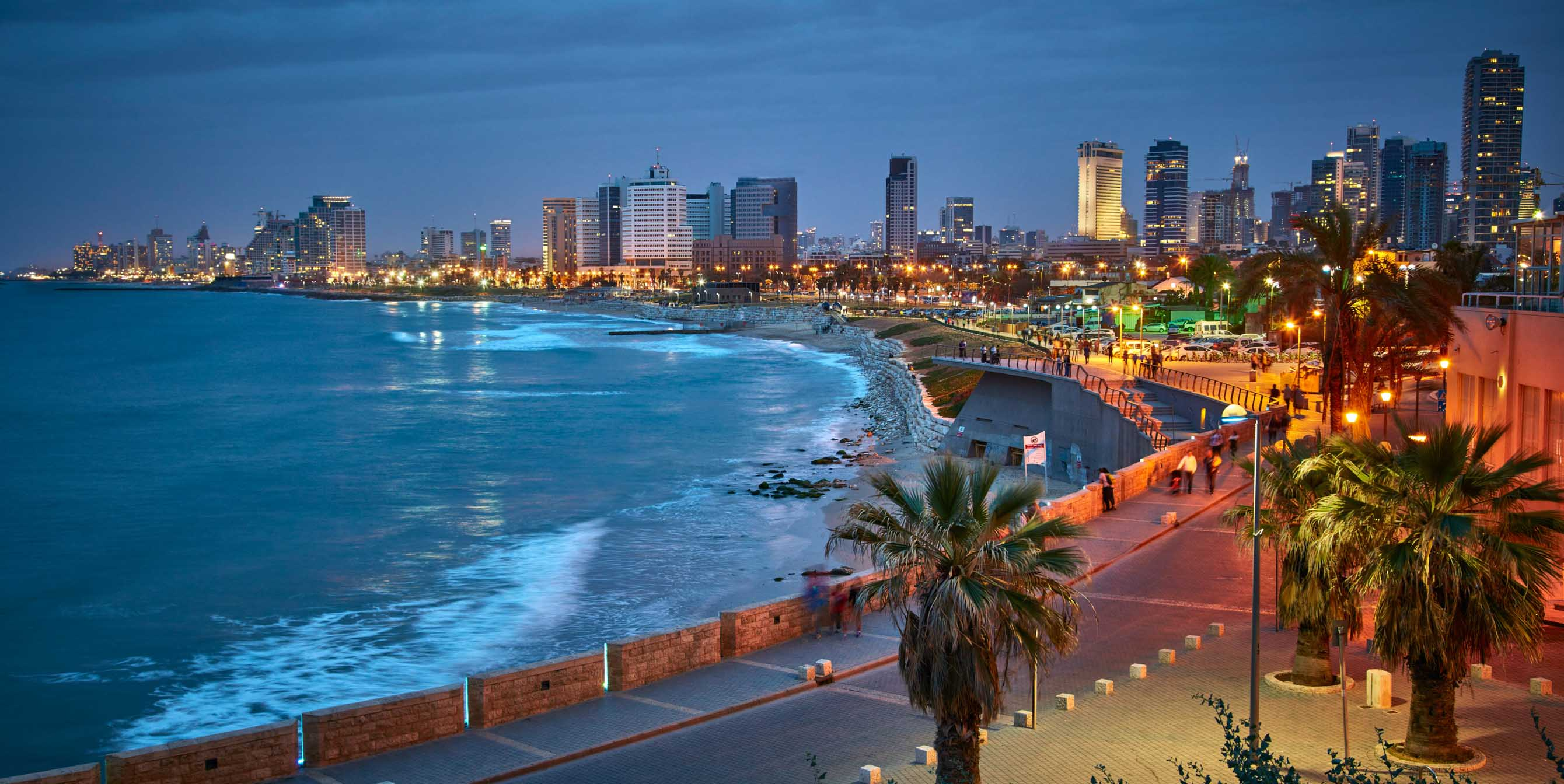 Tel Aviv skyline and waterfront at night
