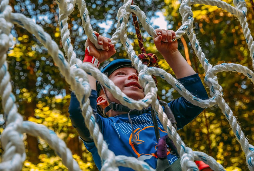 Westchester boy camper on ropes